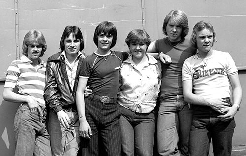 A young Pauline Quirke with a band called Flintlock from the TV pop series, 'Pauline's Quirkes' circa 1976