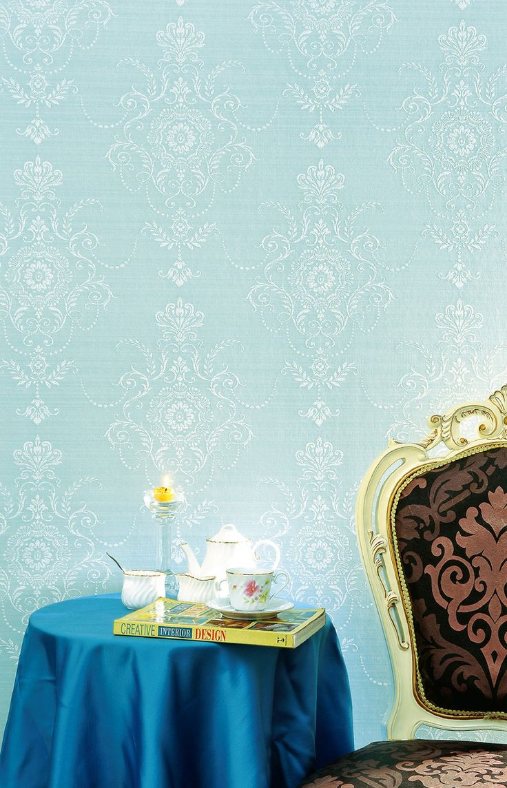 Color: Baby BlueDelicate damask design available in raised textured patternPaper Backed Vinyl. Washable. Peelable. Paste required; apply to wallpaperStraight Design Match. Pattern repeat every 20.8 In