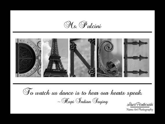 5x7 Personalized gift for DANCE TEACHER by NameOnYourWall