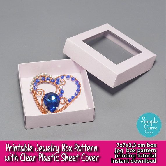 Printable Jewelry Box Pattern Clear Plastic Sheet Packaging Ready To Use Box Template Paper Box A4 D Box Patterns Clear Plastic Sheets Paper Box Template