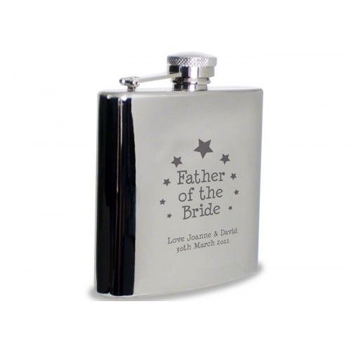 Personalised Father of the Bride Hip Flask - Star Design  from www.personalisedweddinggifts.co.uk :: ONLY £24.95