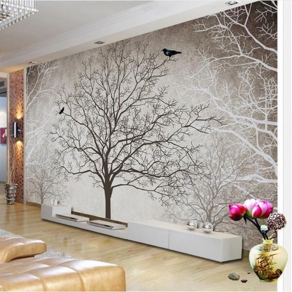 Wallpaper Tree With Birds Mural Wallpaper In 2020 Large Mural Mural Wallpaper Wallpaper Living Room