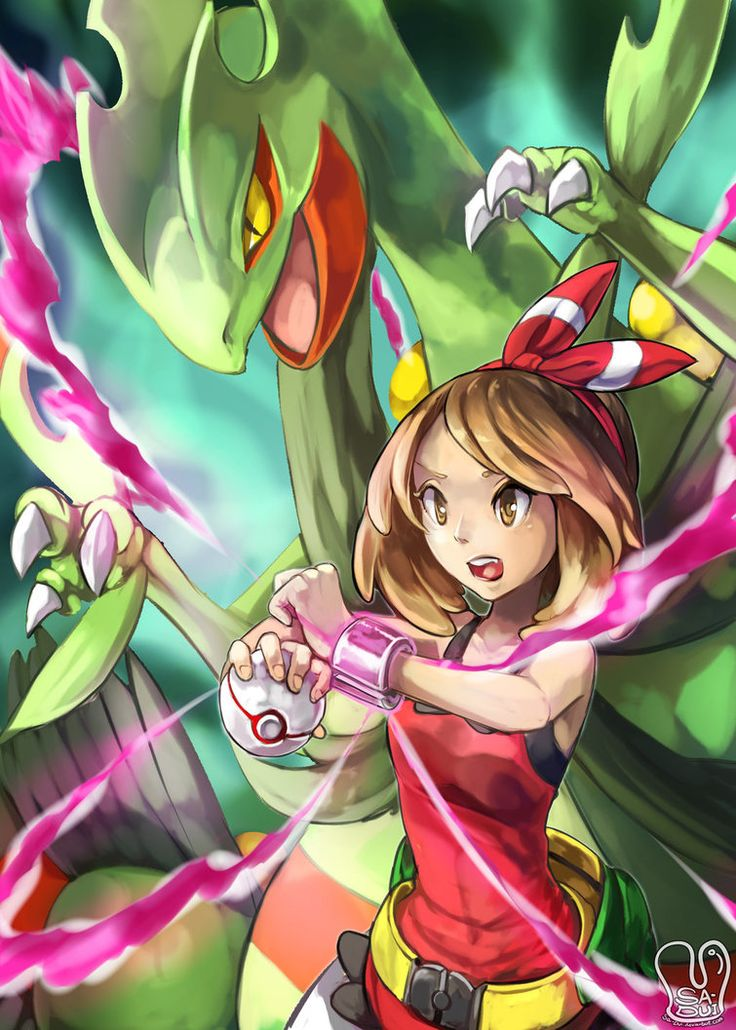 Pokemon fan art May(Haruka) and Mega Sceptile. I'll pick Treecko and get this Mega green dragon! yayyy O w O~~~ (even he has x4 weakness to ice and many x2. T ^ T) FB :: www.facebook.com/mints...