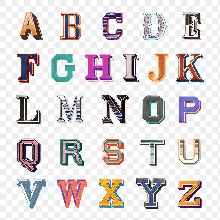 Printable az alphabet png vintage bold fonts typography