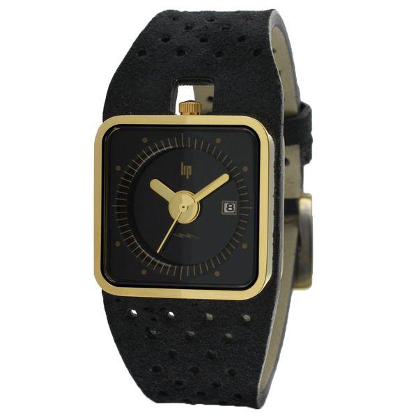 LIP France Watch- Gold Black Nubuc