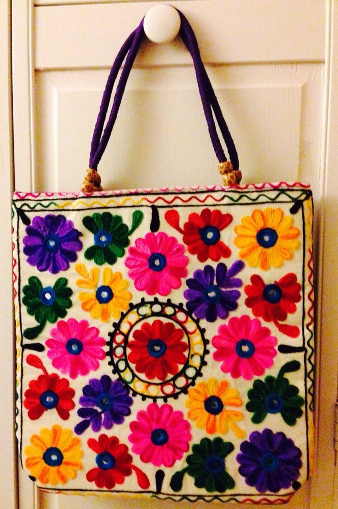Women Handmade Handbag Tote Shoulder Bag Purse Cotton Embroidered Fl White
