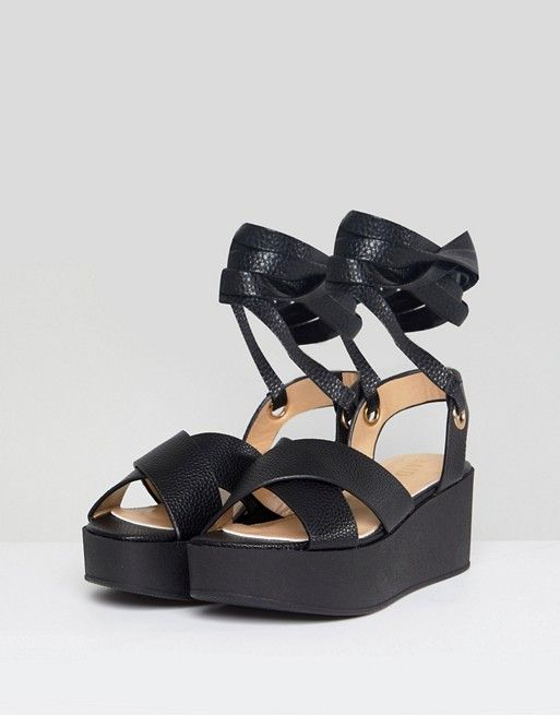 ea2cf2bb1c RAID Alma Black Ankle Tie Flatform Sandals | s | Sandals, Black, Shoes