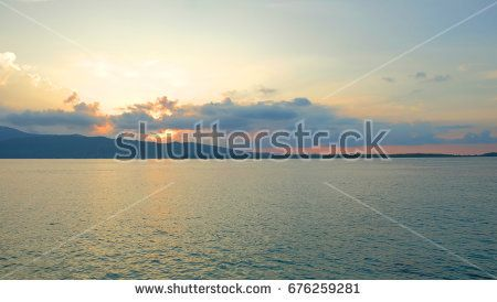 Beautiful morning at karimunjawa, java island, indonesia. Golden sunrise around the beach at south east asia. The beautiful view of tropical paradise.