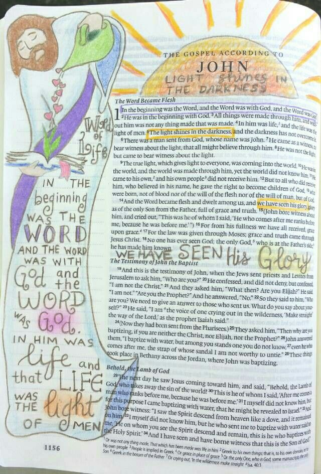 So much good theology in the first few verses of John. This was adapted from Krista Hamrick. Bible art journaling by @peggythibodeau www.peggyart.com