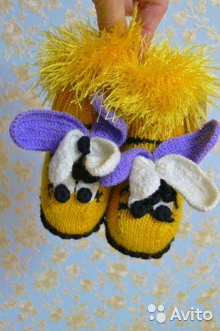 Новые вязаные пинетки для новорождённых Пчёлки— фотография №2