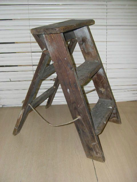 Vintage two step plus platform wooden step ladders ...