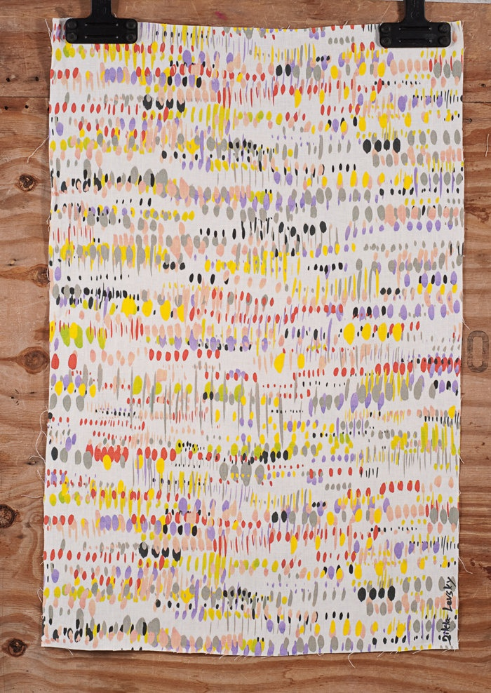 Yellow, Red, Black, Grey, Lime printed dots on Linen.  Original Textile Design by Dikla Levsky