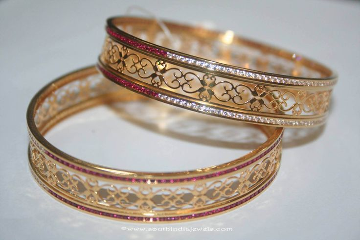 Gold Bangles with White & Red Stones