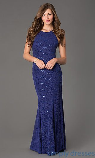 Floor Length Sleeveless Sequin Embellished Dress at SimplyDresses.com