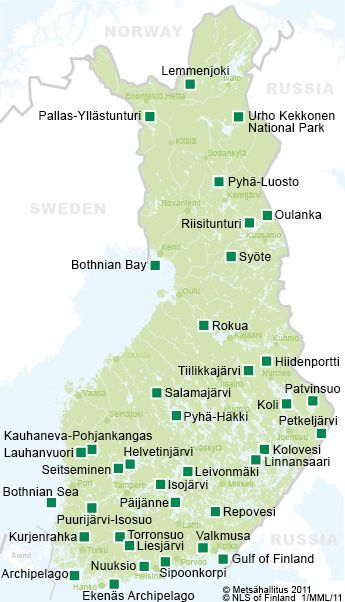Map of some of National Parks in Finland