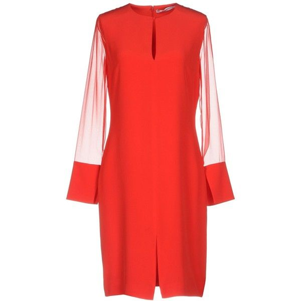 Givenchy Knee-length Dress ($785) ❤ liked on Polyvore featuring dresses, red, long sleeve dress, long sleeve trapeze dress, long sleeve swing dress, slit dress and swing dress