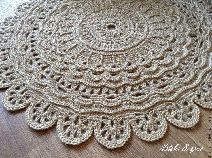 Купить Джутовый коврик - натуральный, коврик, ковер ручной работы, ковер, джут, джутовый шпагат