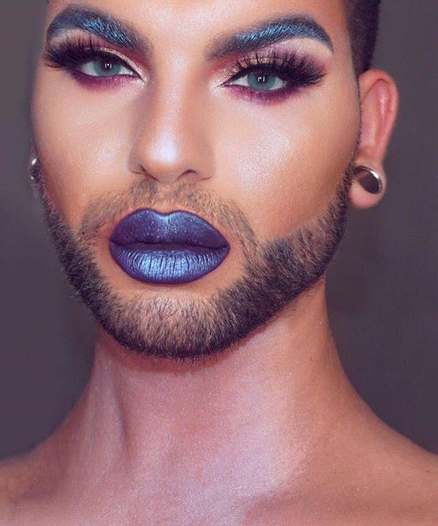 Pinterest : @jeniimariee ♡ Men Wearing Makeup, Male Makeup, Makeup Inspo, Makeup Inspiration, Glitter Beards, Drag Queen Makeup, Pride Outfit, Fembois, Genderqueer