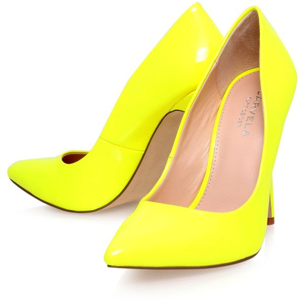 Gunning Carvela Kurt Geiger Yellow (2,570 THB) ❤ liked on Polyvore featuring shoes, pumps, heels, yellow, pointy shoes, heel pump, yellow shoes, neon pumps and fluorescent yellow pumps