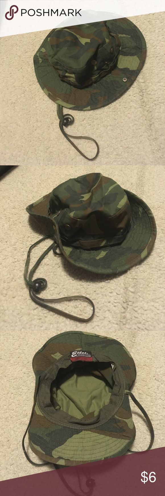 Camo Bucket Hat w String NWOT! Description: Perfect for camping! Condition: New without tags! Never worn! Smoke free home! Ask questions before you purchase! Ethoe Accessories Hats
