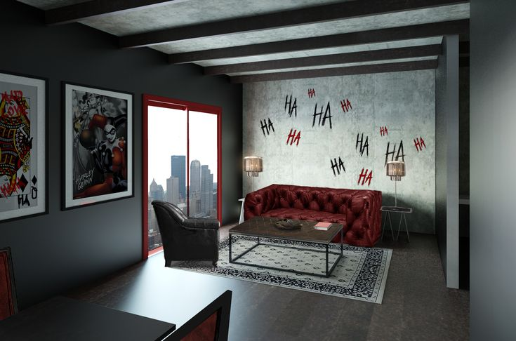 living room harley quinn theme get your room designed