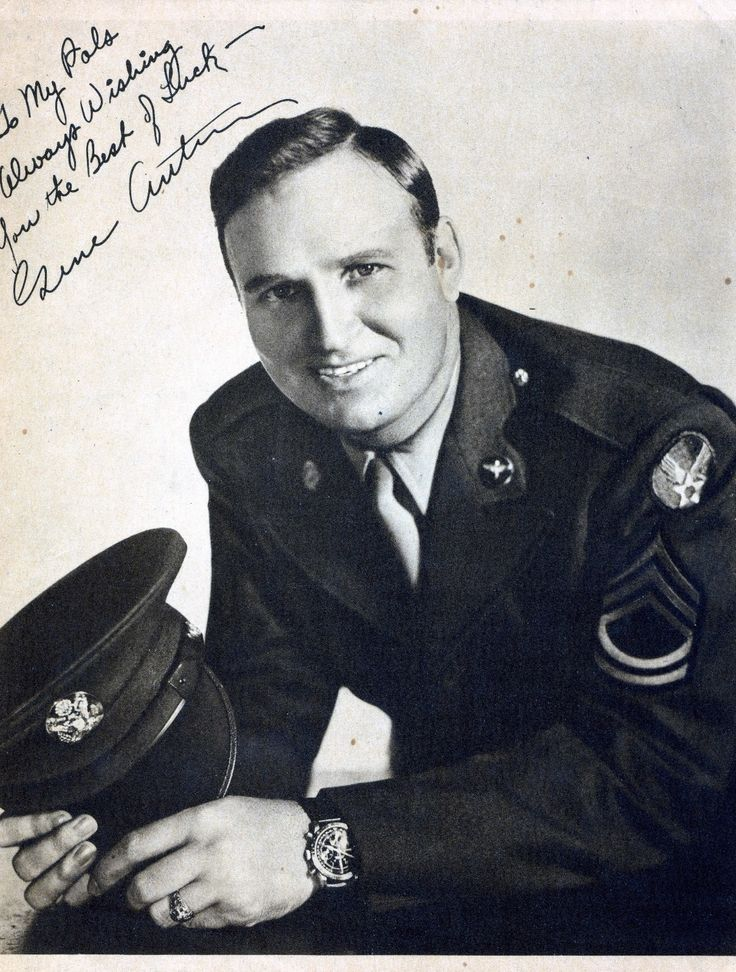 "Gene Autry (1907-1998). U.S. Army Air Force WW II. Enlisted 1942. As a pilot and Technical Sgt. he ferried fuel, ammunition, and arms in the China-India-Burma theater of war flying over the hazardous Himalayan air route, ""The Hump."" He also volunteered his talents as an entertainer for numerous Air Force shows. He had his own radio show entitled ""Sargeant Gene Autry.""  When the war ended, he was reassigned to Special Services where he toured with a USO troupe in the South Pacific until 1946."
