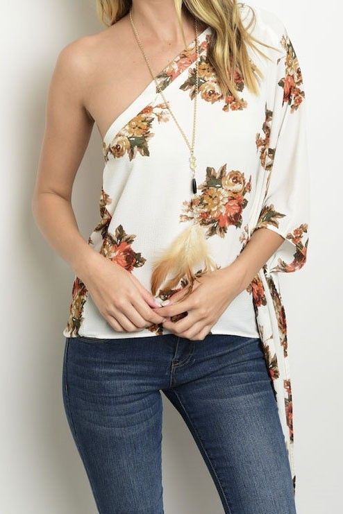 "Floral one shoulder top with 3/4 sleeve. - L: 24"" B: 38"" W: 40"". - 100% polyester. - Lightweight, unlined. - Hand Wash Cold/ Hang Dry"