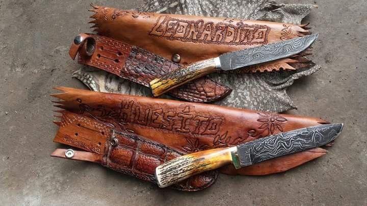 Cuchillos criollos en acero Damasco. Forja Damián Martínez