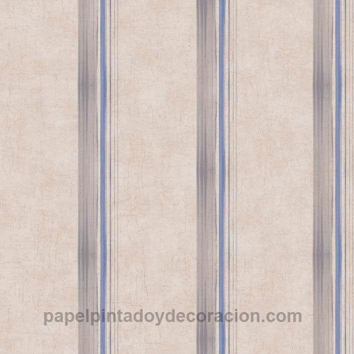 Papel pintado Caselio rayas marrones y azules fondo marrón claro textura rugosa KDO65496090