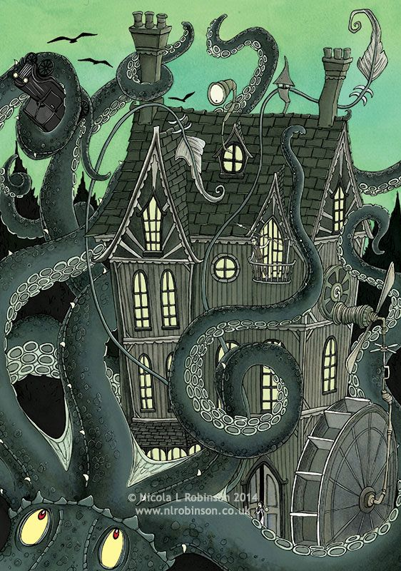 Nicola L Robinson Giant Squid Attack illustration gothic childrens book