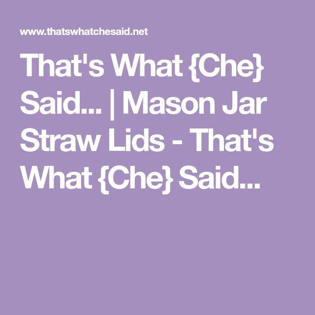 That's What {Che} Said... | Mason Jar Straw Lids - That's What {Che} Said...