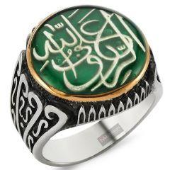 Yeşil Mineli Rızk Allahtandır Yazılı Gümüş Erkek Yüzük
