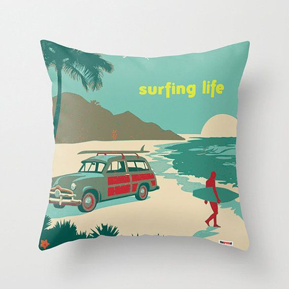 Surf Decorative throw pillow cover  Contemporary by thegretest, $55.00  Great for the beach house!