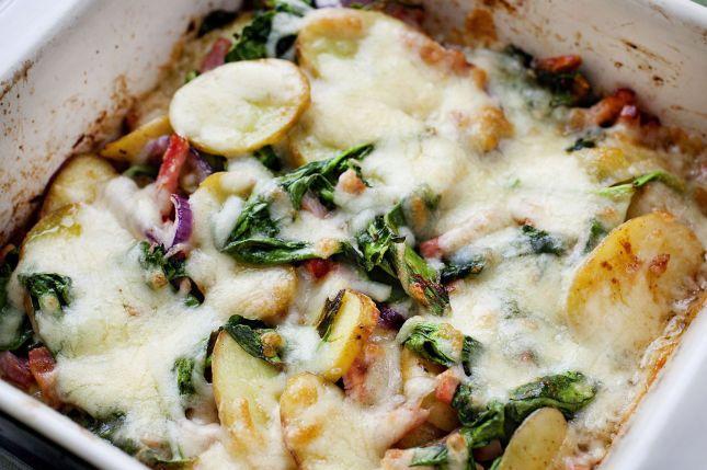 Potet i form med skinke og grønnsaker