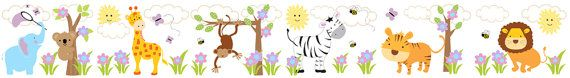 Jungle Animals Wall Border Decals for baby girl nursery or kids room decor #decampstudios https://www.etsy.com/listing/162126016/jungle-animals-wall-border-decals-baby