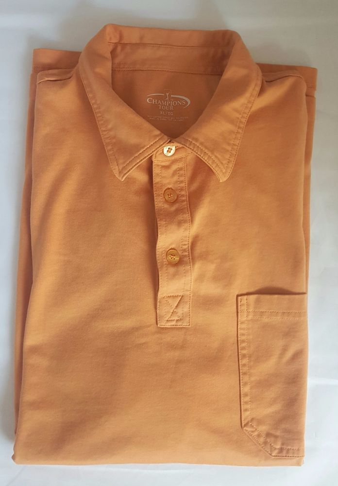 Champions Tour Mens XL Golf Shirt Pale Orange Short Sleeve Collared Cotton/Poly #ChampionsTour #GolfShirt