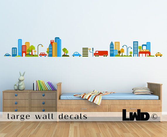 Cityscape Vinyl Wall Sticker | kid spaces: playrooms