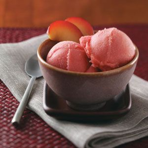 Lemon Plum Sorbet Recipe  Brightly flavored fruit sorbet from Taste of Home... You can add agave or stevia rather than sugar.