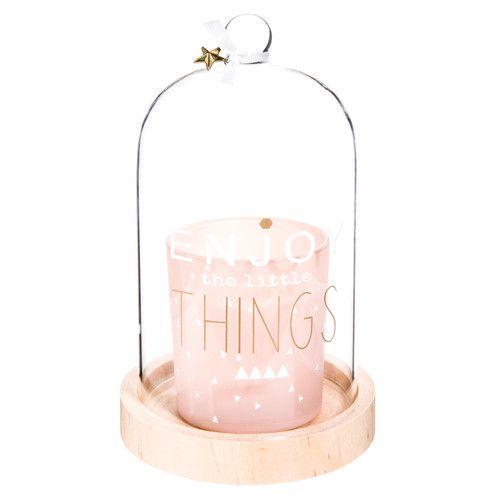 Bougie rose sous cloche H 18 cm ENJOY PASTEL £15 Maison du monde