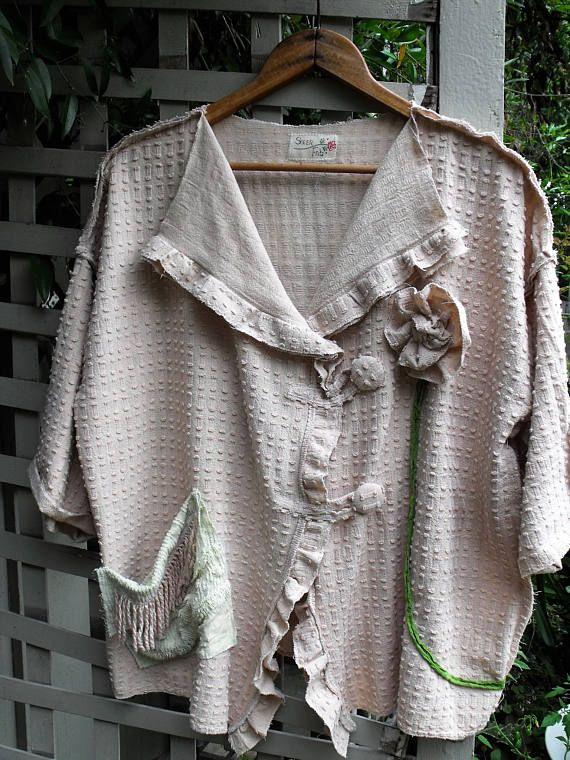 1-2X Chenille Jacket/ Vintage Bedspread Cotton Chenille/ Pale
