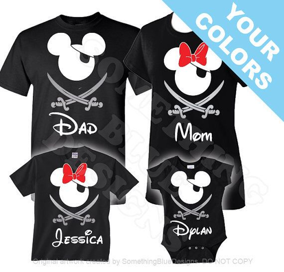 Family Mickey Minnie Vacation Pirate Shirts. Disney Family Shirt. Disney Vacation Shirt. Disney Pirate Night Shirt. Cruise Pirate Night. by SomethingBlueDesigns on Etsy https://www.etsy.com/listing/254135127/family-mickey-minnie-vacation-pirate