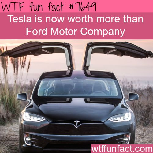 Tesla company is now worth more than Ford Motor - WTF FUN FACTS