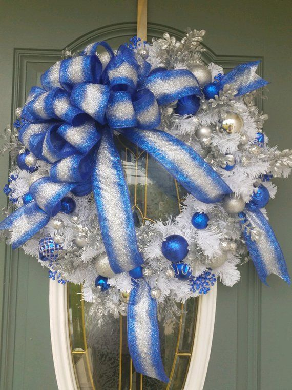 Christmas Wreath Blue And Silver