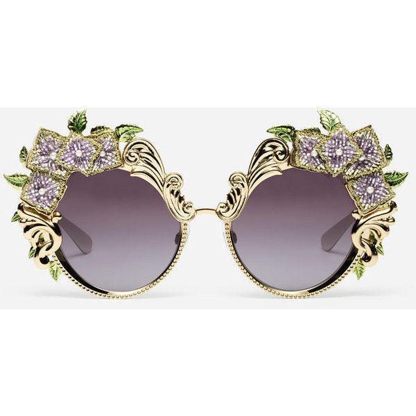 Dolce & Gabbana Metal Sunglasses With Hydrangea Embellishment (£1,275) ❤ liked on Polyvore featuring accessories, eyewear, sunglasses, glasses, embellished sunglasses, metal sunglasses, print sunglasses, dolce gabbana glasses and dolce gabbana eyewear