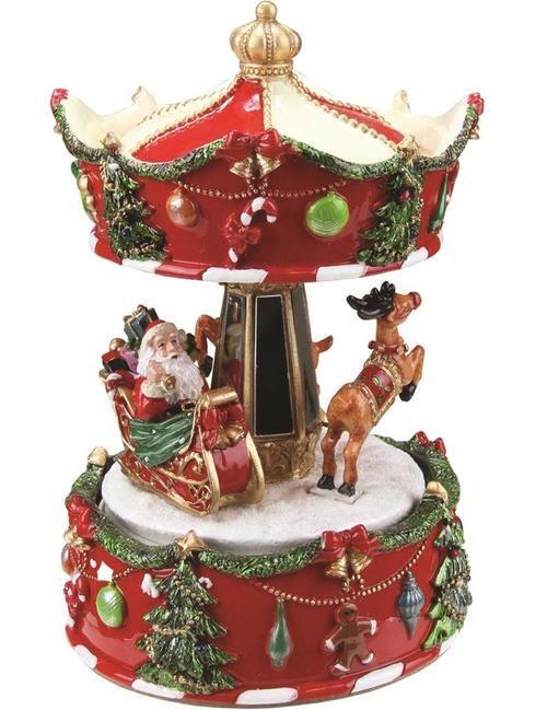 """6.25"""""""" Animated Musical Santa and Reindeer Carousel Christmas Music Box"""