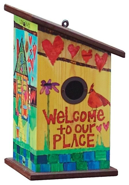 Welcome to Our Place Birdhouse in Vinyl/PVC eclectic-birdhouses