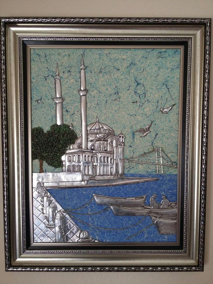 Alüminyum folyo❤ebru sanatı 55×70 botutlarında Ortaköy camii