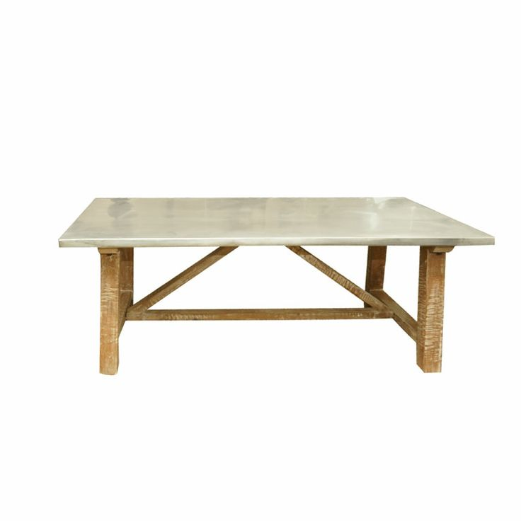 Captivating Zinc Top Distressed Wood Coffee Table