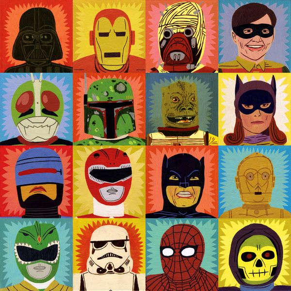 Heroes and Villains Art Print: Villains Cushions, Heroes, Illustration, Art Prints, Ohh Deer, Jack Teagle, Jack O'Connel, Products, Superhero