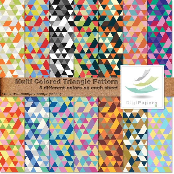 Multi Colored Triangle Pattern by DigiPapers